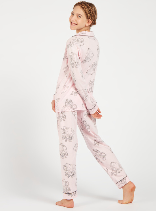 Graphic Print Shirt and Full Length Pyjama Set