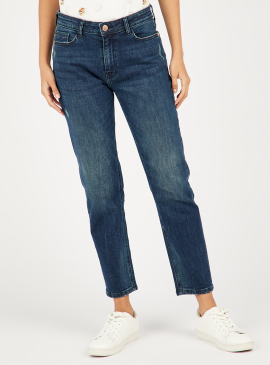 Slim Fit Mid-Rise Cropped Denim Jeans with Pockets