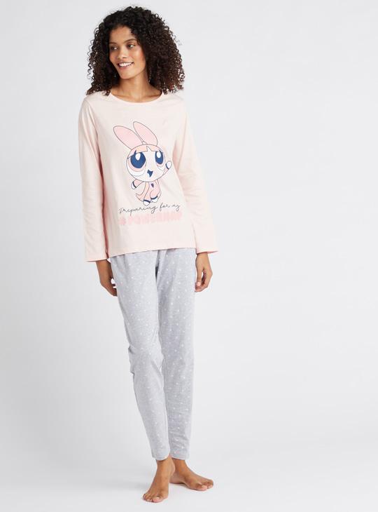 Power Puff Girls Printed Round Neck T-shirt and Pyjama Set