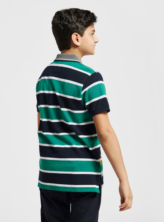 Striped Polo Shirt with Short Sleeves and Button Closure