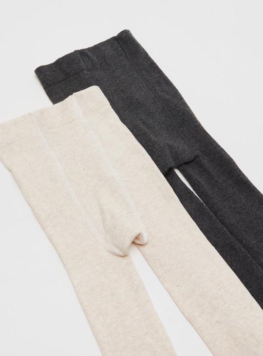جوارب طويلة سادة بخصر مطّاطي - طقم من قطعتين