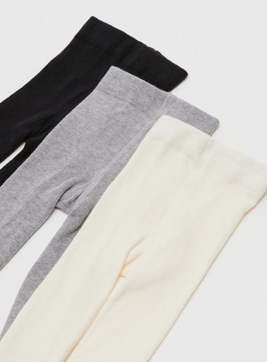 جوارب طويلة سادة بخصر مطّاطي- طقم من 3 قطع