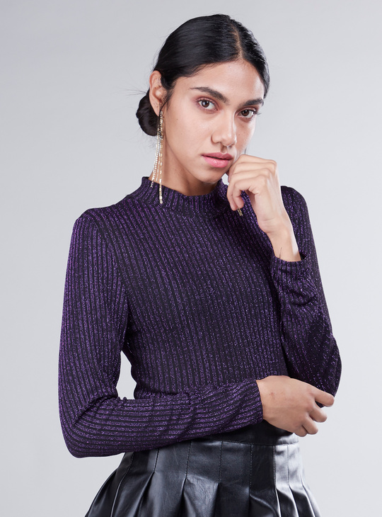 Textured Bodysuit with High Neck and Long Sleeves