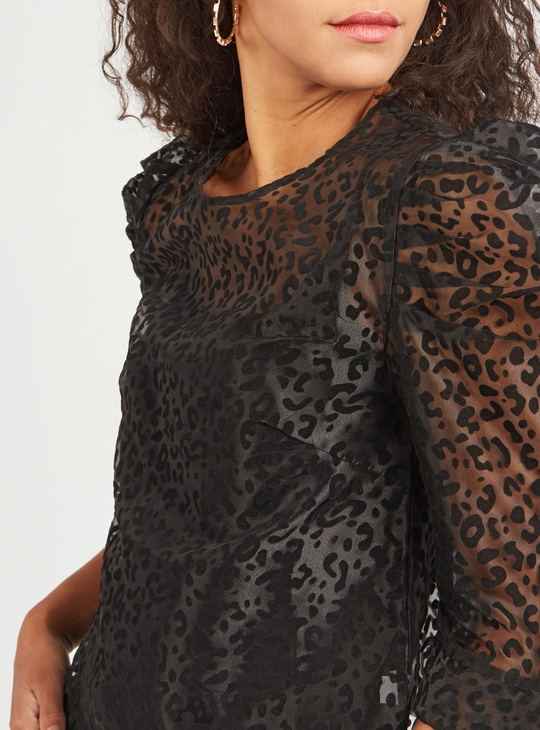 Leopard Print Round Neck Top with Puff Sleeves