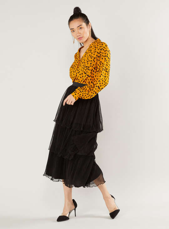 Animal Print Shirt with Spread Collar and Long Sleeves