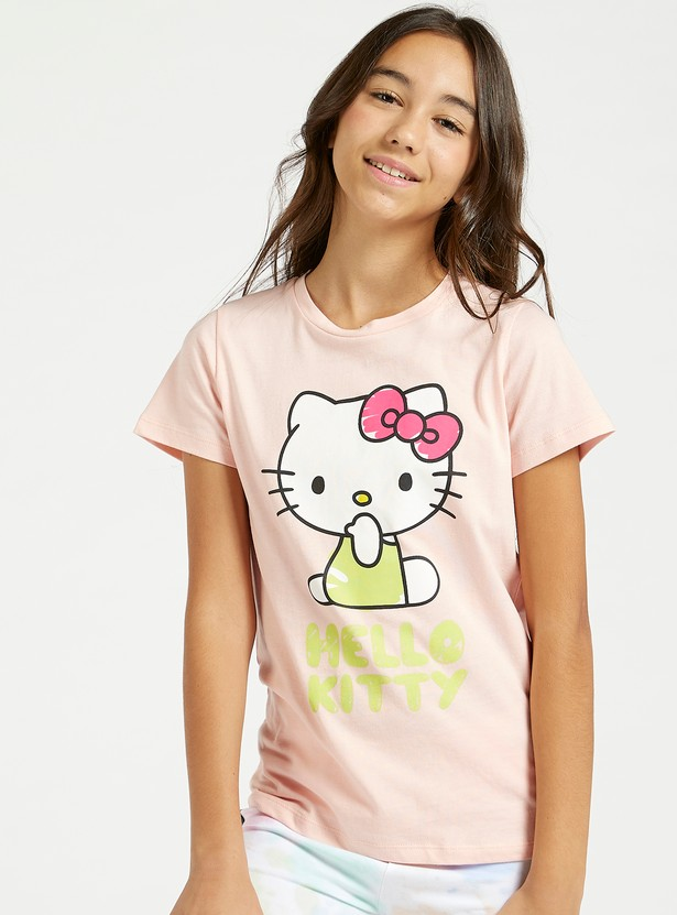 Hello Kitty Print Round Neck T-shirt with Short Sleeves