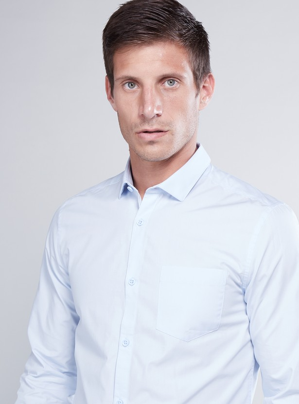 Slim Fit Solid Shirt with Patch Pocket and Long Sleeves