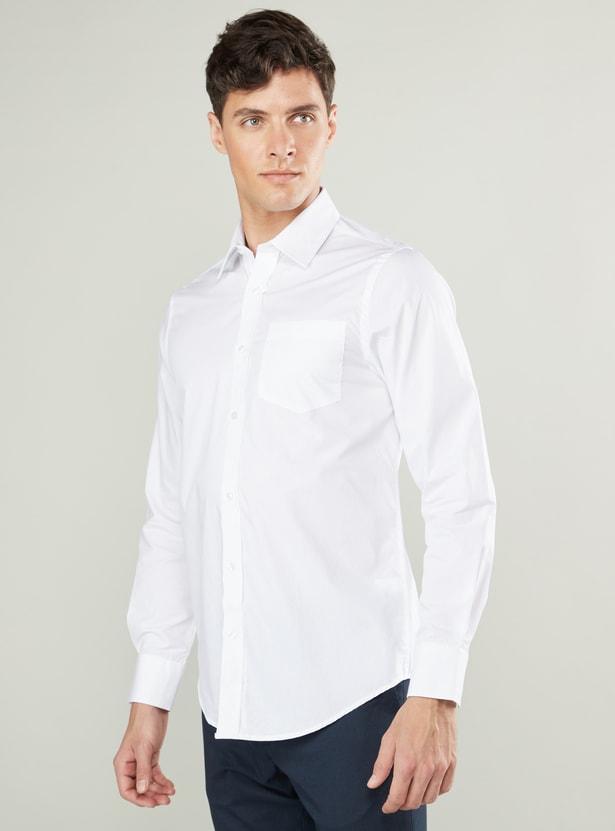 قميص سليم سادة بياقة عادية وجيب خارجي