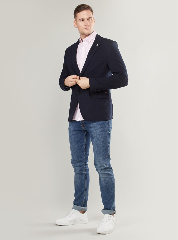 Solid Knit Blazer with Long Sleeves and Button Closure
