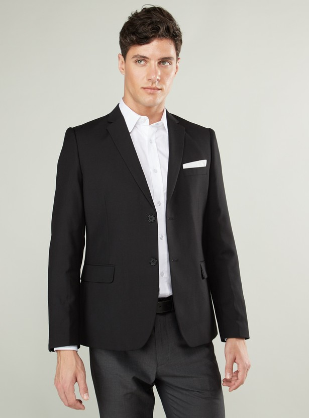 Plain Formal Jacket with Long Sleeves and Notched Lapel