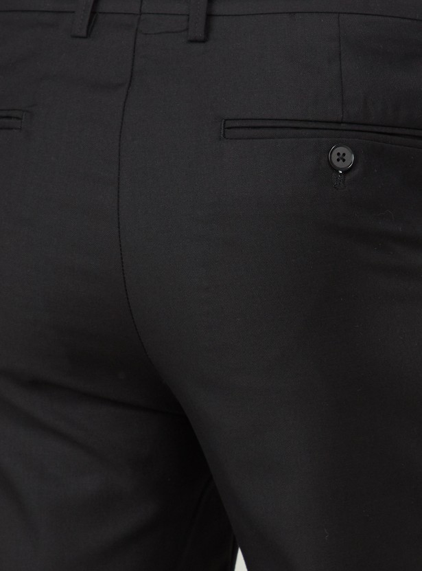 Slim Fit Trousers with Pocket Detail and Zip Closure