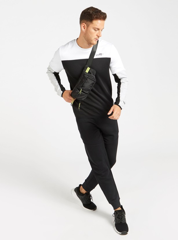 Panelled Crew Neck Sweatshirt with Long Sleeves