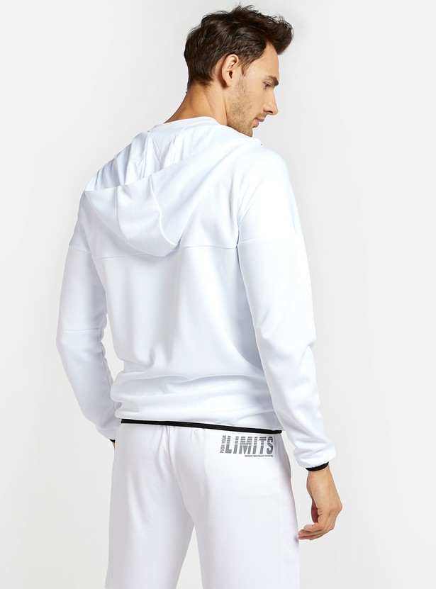 Solid Hoodie Jacket with Long Sleeves and Zip Closure