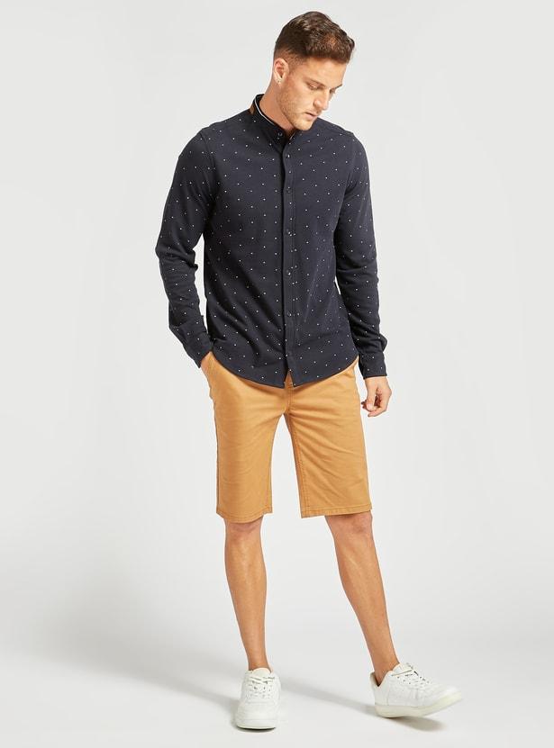 Printed Regular Fit Mandarin Collared Shirt with Long Sleeves