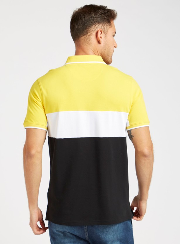 Colourblocked Polo T-shirt with Short Sleeves