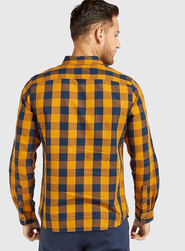 Slim Fit Checked Shirt with Button Down Collar and Long Sleeves