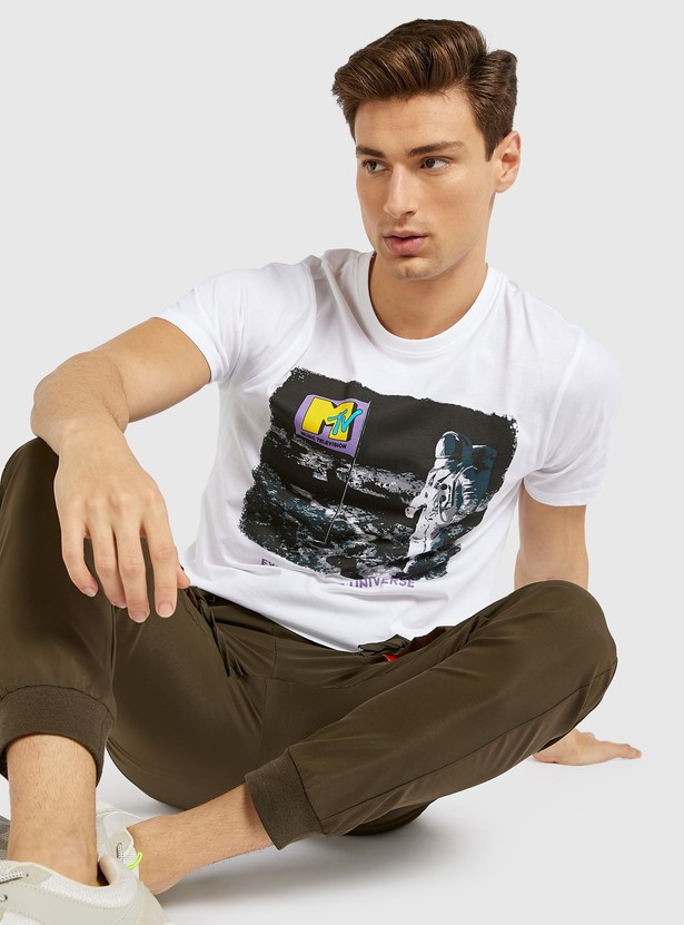 MTV Print T-shirt with Round Neck and Short Sleeves
