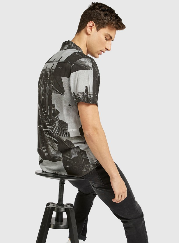 Slim Fit Printed Shirt with Short Sleeves and Button Closure