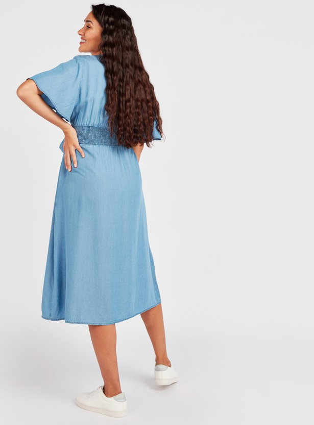 Denim Maternity Midi A-line Dress with Flared Sleeves and Tie Ups