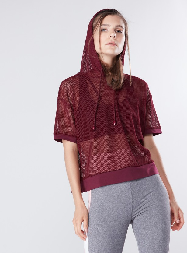 Mesh Top with Drawstring Hood and Short Sleeves