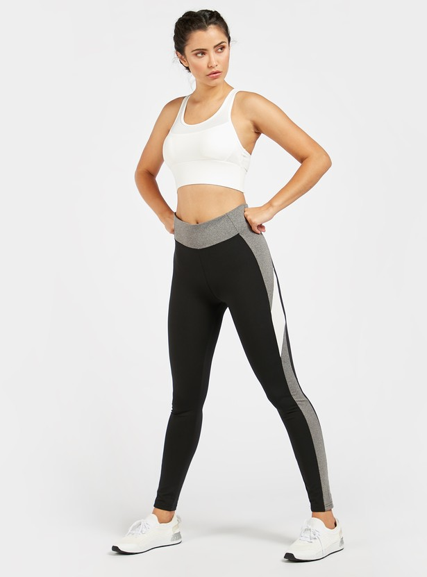 Colour Block Full Length Leggings with Elasticised Waistband
