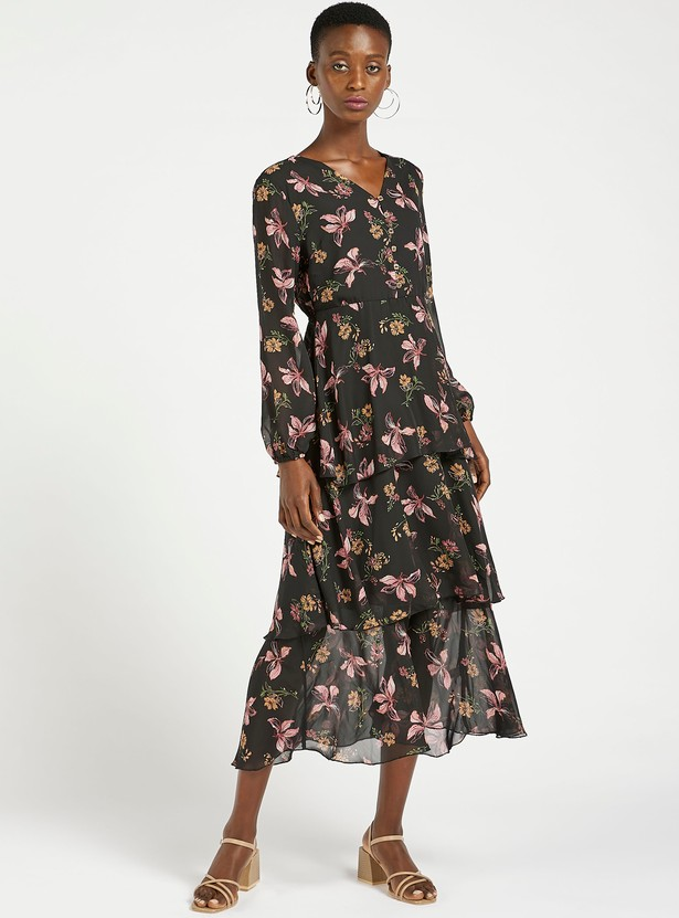 Floral Print V-neck Tiered Midi Dress with Long Sleeves