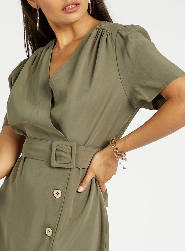 Solid Midi A-line Dress with Short Sleeves and Belt