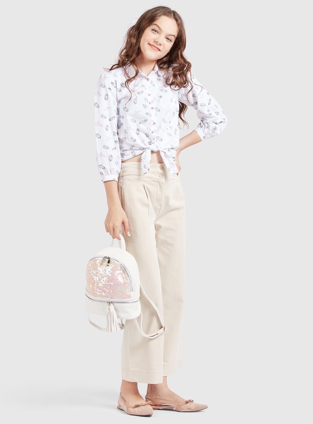 All-Over Print Shirt with Spread Collar and 3/4 Sleeves