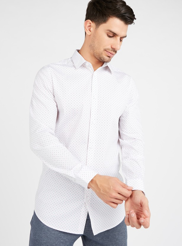 Printed Collared Shirt with Long Sleeves