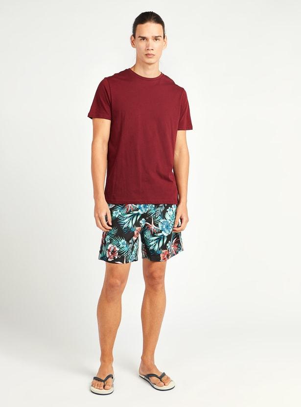 Printed Shorts with Pocket Detail and Drawstring Closure