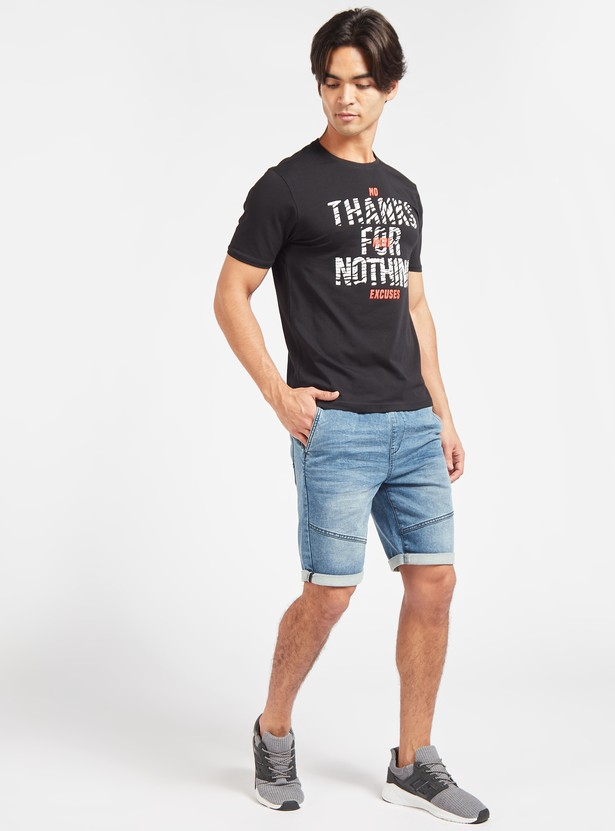 Slim Fit Typographic Print T-shirt with Crew Neck and Short Sleeves