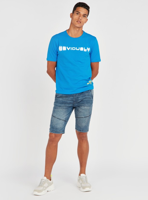Slim Fit Printed Stretch Fabric T-shirt with Short Sleeves