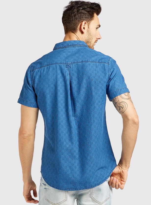 Checked Denim Shirt with Spread Collar and Short Sleeves