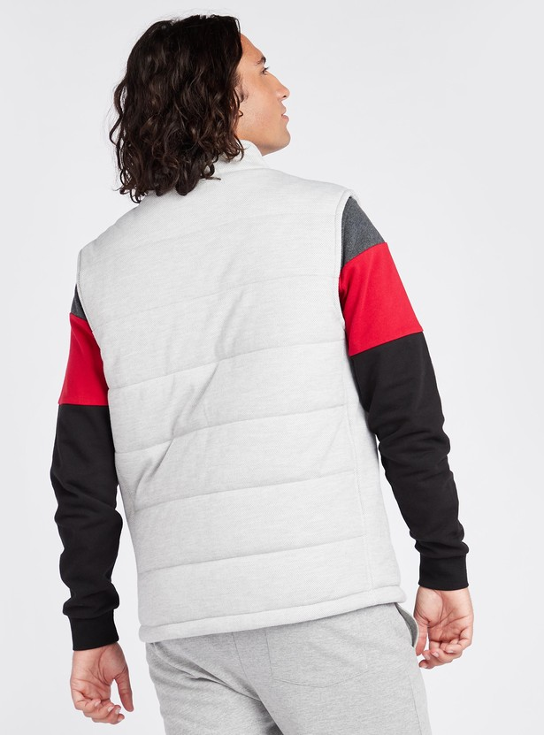 Solid Sleeveless Puffer Jacket with High Neck and Pockets