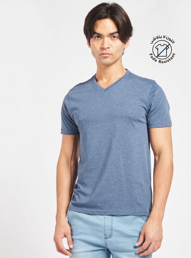 Solid Regular Fit V-neck T-shirt with Short Sleeves