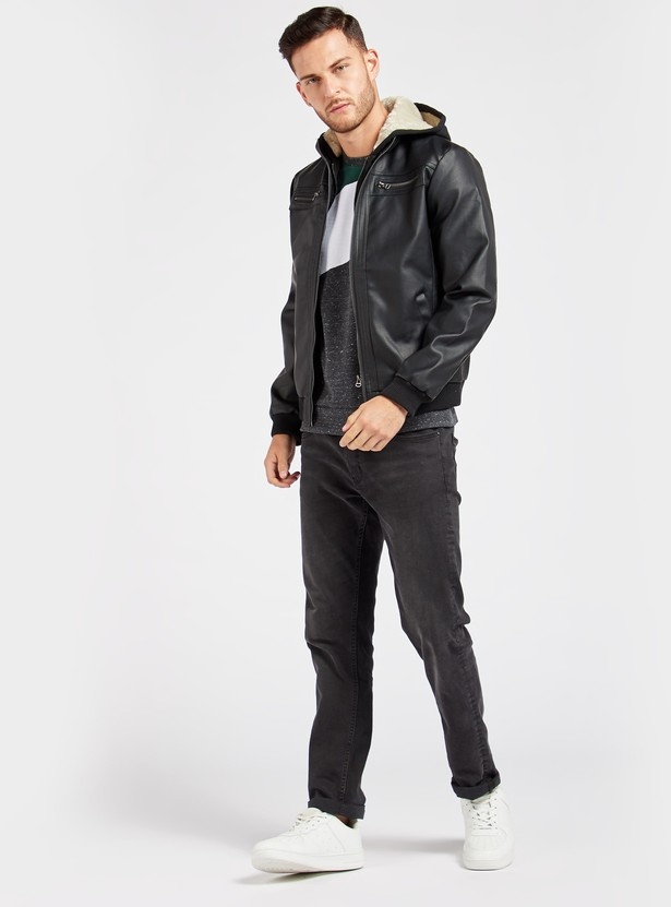 Solid Biker Jacket with Hooded Neck and Zip Closure
