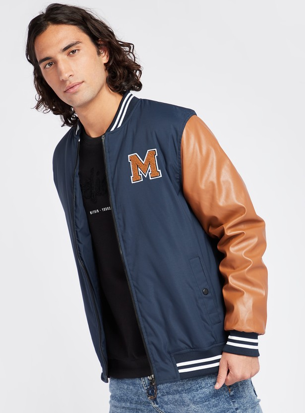 Solid Varsity Jacket with Pocket Detail and Long Sleeves