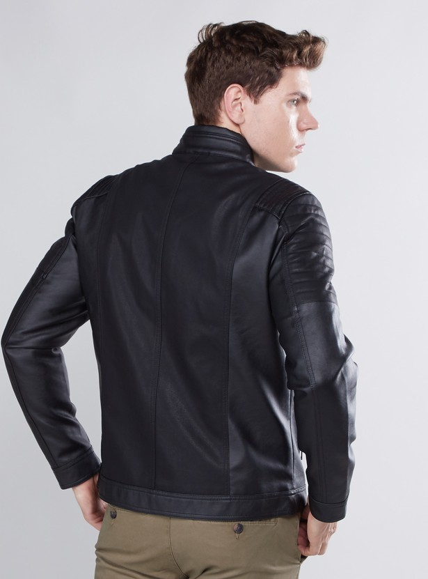 Textured Biker Jacket with Long Sleeves and Zip Closure