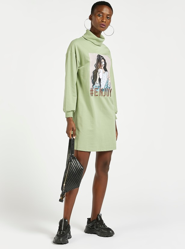 Graphic Print Mini Sweatshirt Dress with Turtle Neck and Long Sleeves