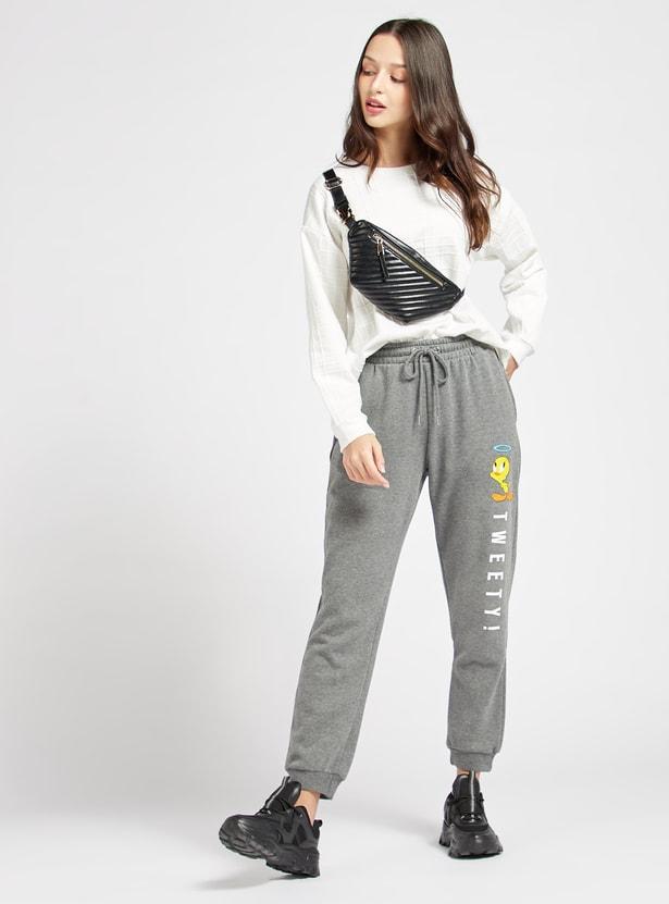 Tweety Print Jog Pants with Pockets and Drawstring