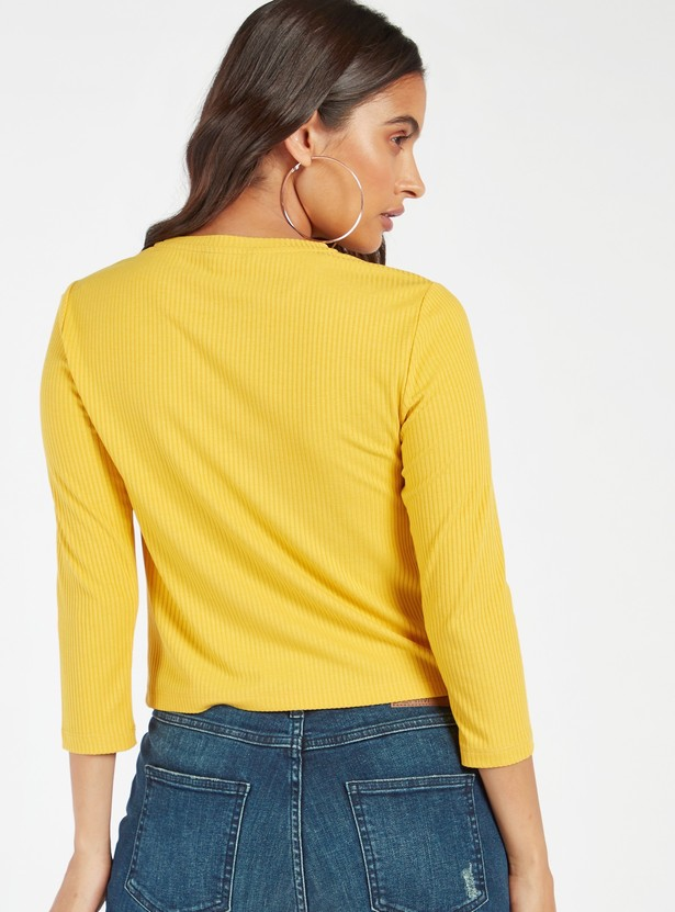 Rib Textured T-shirt with Round Neck and 3/4 Sleeves