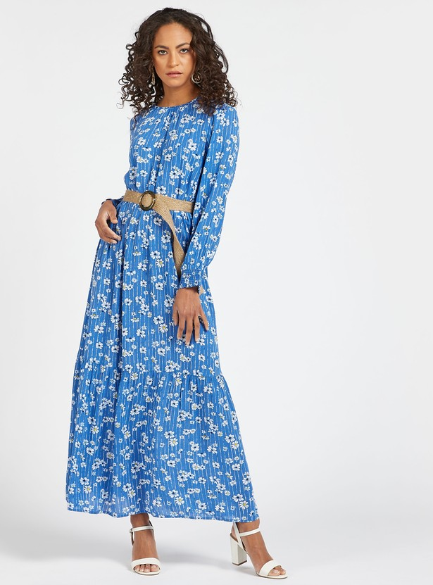 Floral Print Maxi Tiered Dress with Belt and Long Sleeves