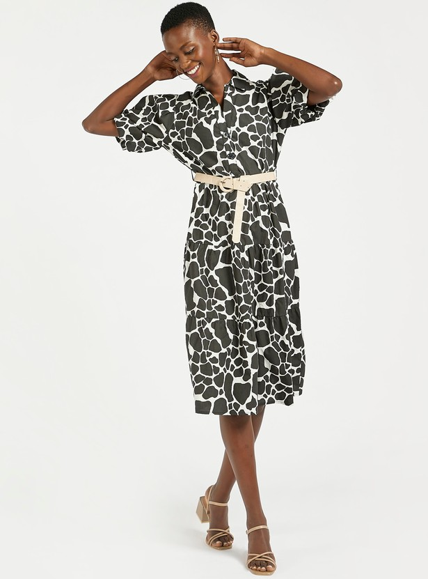 Printed Tiered Midi Dress with Short Sleeves and Belt