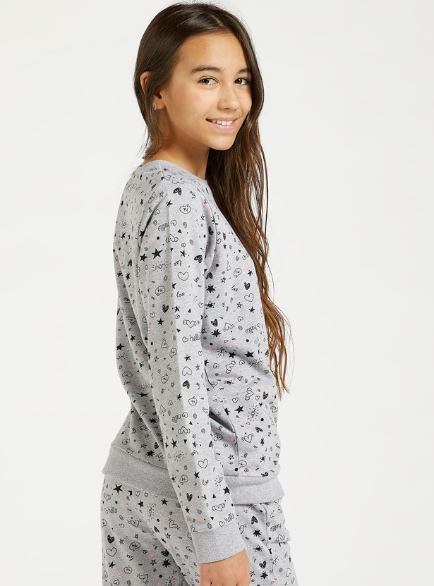 Doodle Print Sweat Top with Round Neck and Long Sleeves