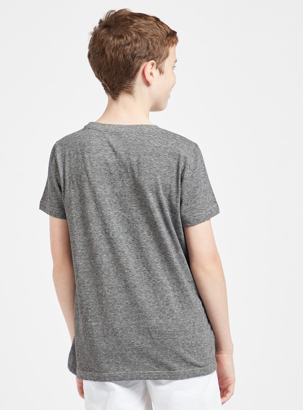 Legendary Print T-shirt with Round Neck and Short Sleeves