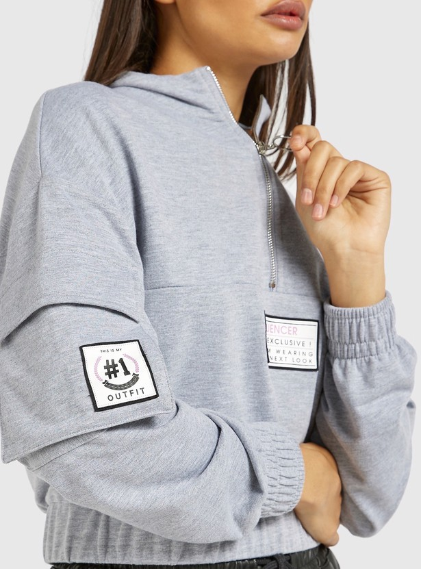 Printed Sweat Top with Long Sleeves and Zip Detail