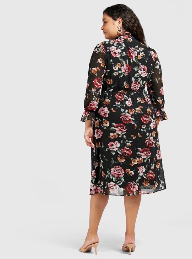 فستان ميدي بطبعات أزهار وكشكشة وأكمام طويلة