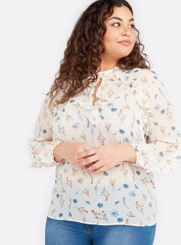 Printed Top with Ruffle Detail and Bishop Sleeves