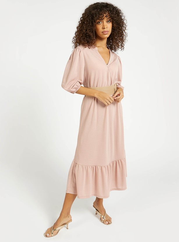Solid V-neck Tiered Midi Dress with 3/4 Sleeves