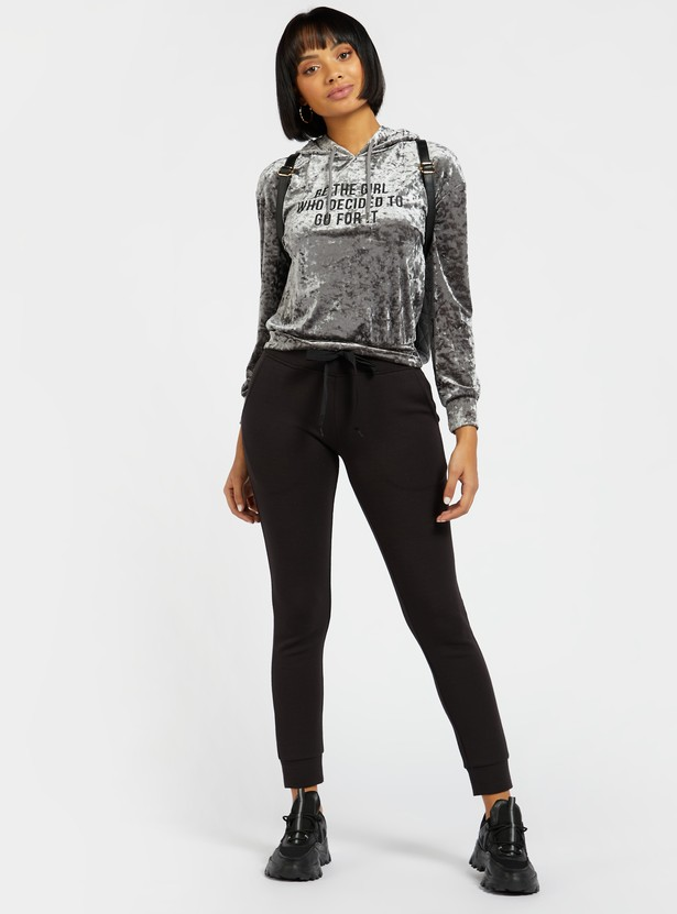 Textured Top with Hood and Long Sleeves